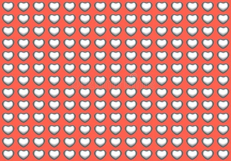 cuore d'argento di amore del bicromato di potassio 3d su colore rosso illustrazione vettoriale