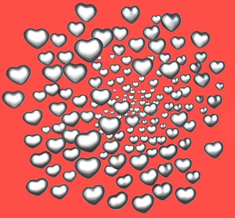cuore d'argento di amore del bicromato di potassio 3d su colore rosso royalty illustrazione gratis