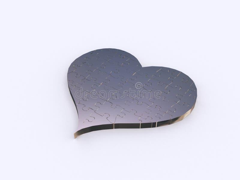 Cuore d'argento di puzzle illustrazione di stock