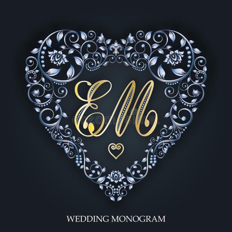 Cuore d'argento Inviti di nozze Giorno del `s del biglietto di S Vettore illustrazione di stock
