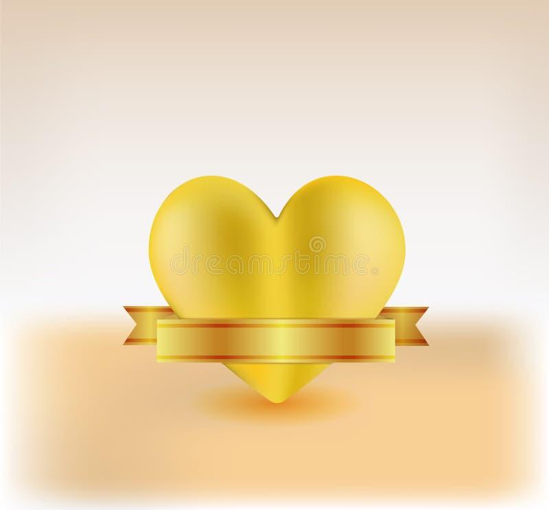Cuore 3d dell'oro illustrazione di stock