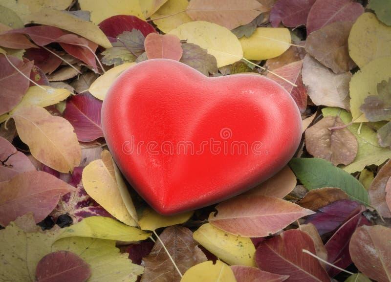 cuore 3d sulle foglie illustrazione vettoriale