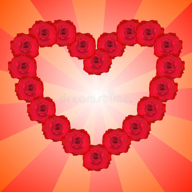 Cuore dalle rose rosse. immagine stock