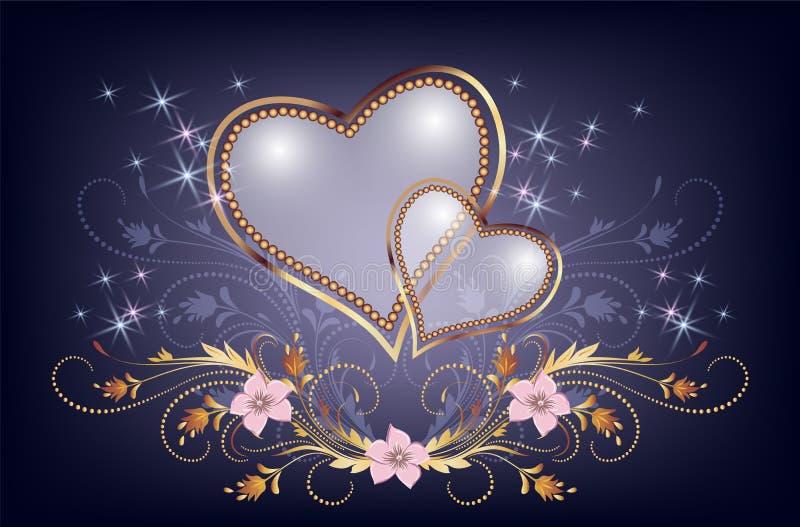 Cuore decorativo della perla con le stelle dorate della scintilla e dell'ornamento royalty illustrazione gratis