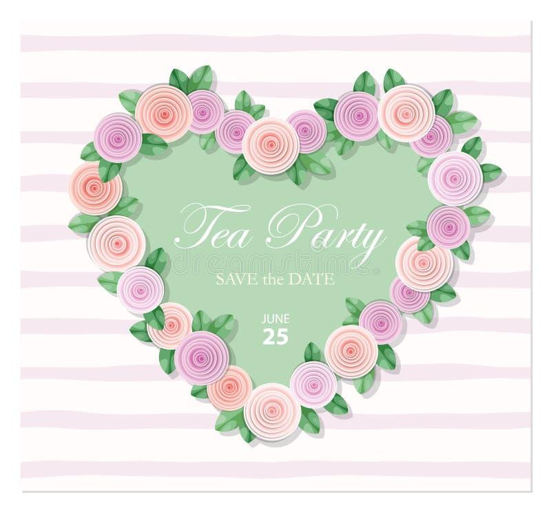 Cuore decorato con il modello delle rose Compleanno, invito di nozze, carta di giorno del biglietto di S. Valentino s, copertura  illustrazione vettoriale