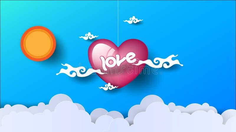 Cuore degli sguardi di amore attraverso le nuvole Il Sun splende su fondo blu Arte di carta Illustrazione di vettore ENV 10 illustrazione di stock