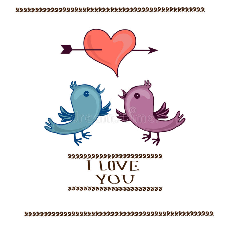 Cuore dei biglietti di S. Valentino ed uccello due illustrazione di stock