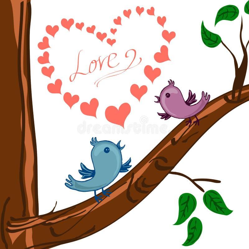 Cuore dei biglietti di S. Valentino ed uccello due sull'albero illustrazione di stock