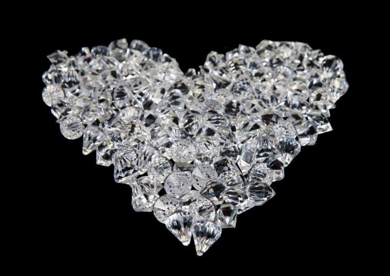 Cuore dei diamanti sul nero fotografia stock