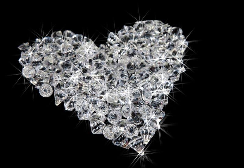 Cuore dei diamanti sul nero immagini stock libere da diritti