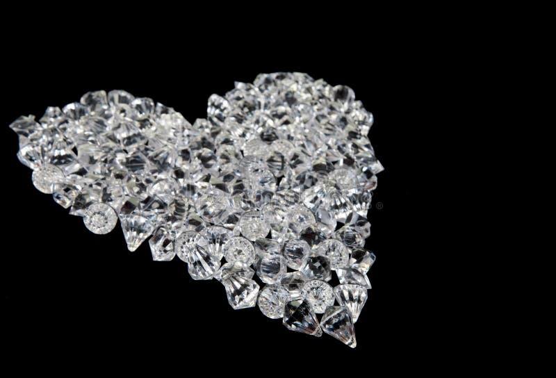 Cuore dei diamanti sul nero fotografia stock libera da diritti