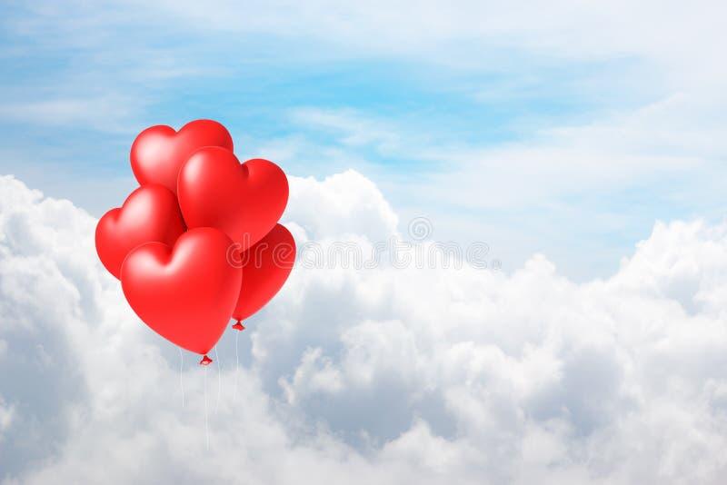 cuore dei palloni dell'illustrazione 3d che galleggia sul cielo con la nuvola illustrazione di stock