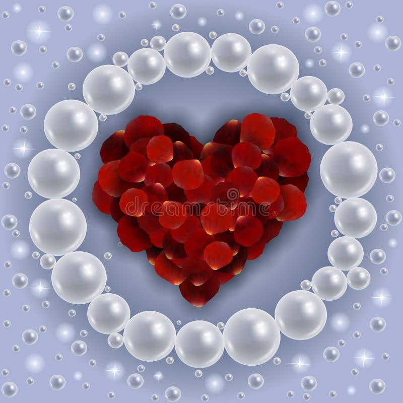 Cuore dei petali di rosa rossa con la struttura della perla illustrazione di stock