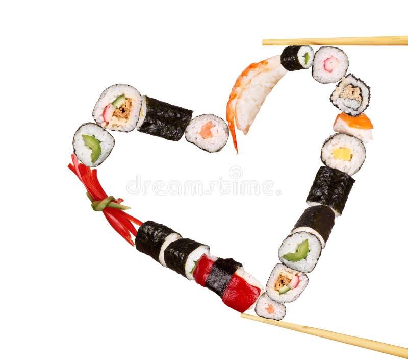 Cuore dei sushi fotografia stock