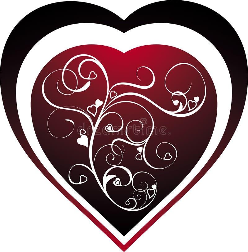 Cuore del biglietto di S. Valentino illustrazione vettoriale