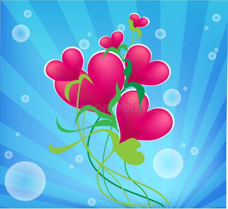 Cuore del biglietto di S. Valentino, con i fiori blu. fotografia stock