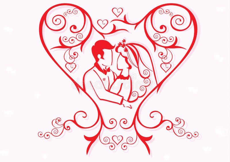 cuore del biglietto di S. Valentino con le coppie illustrazione vettoriale