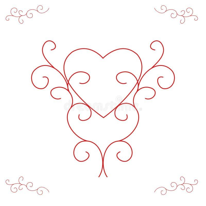 Cuore del biglietto di S. Valentino - profili decorati illustrazione di stock