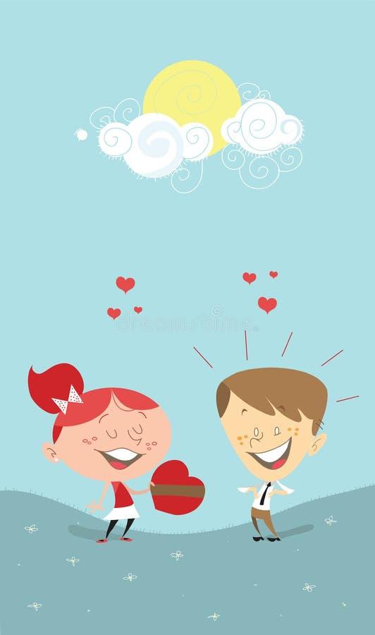 Cuore del biglietto di S. Valentino, ragazza che dà un regalo ad un ragazzo royalty illustrazione gratis