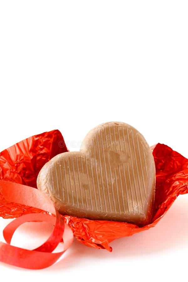 Cuore del cioccolato per il giorno del biglietto di S. Valentino fotografia stock libera da diritti