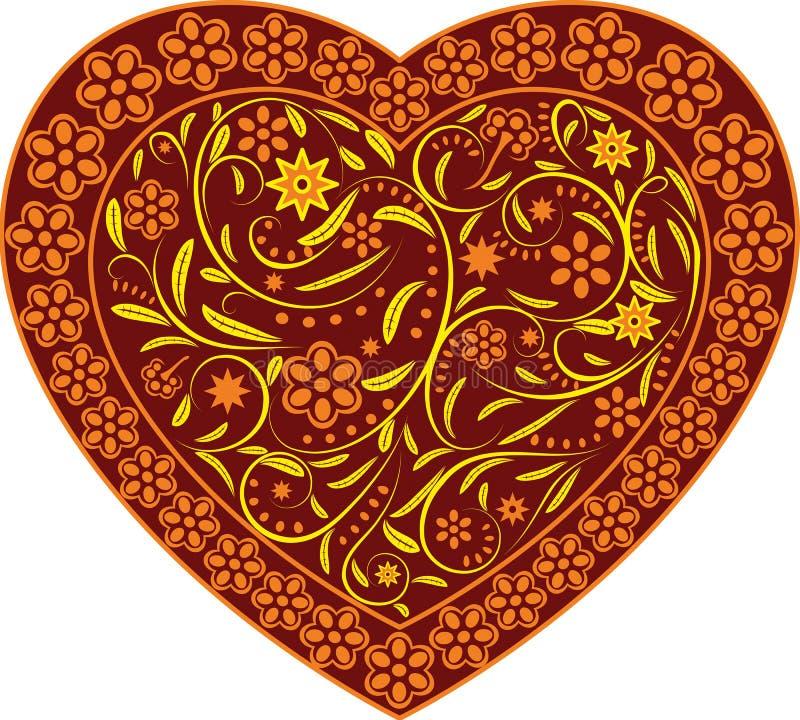 Cuore del Claret con l'ornamento royalty illustrazione gratis