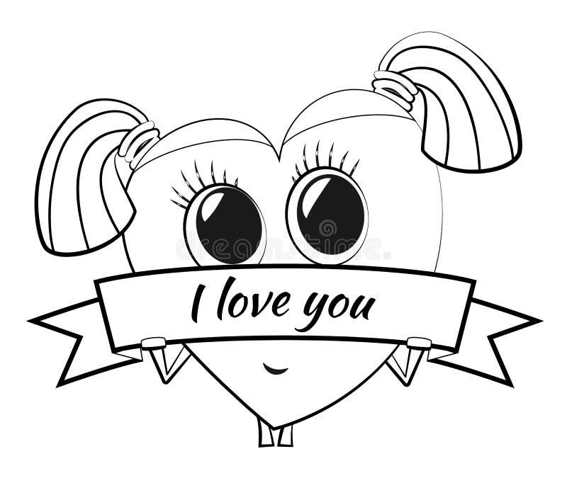 Cuore del fumetto il giorno del ` s del biglietto di S. Valentino Carattere femminile sveglio con il maiale royalty illustrazione gratis