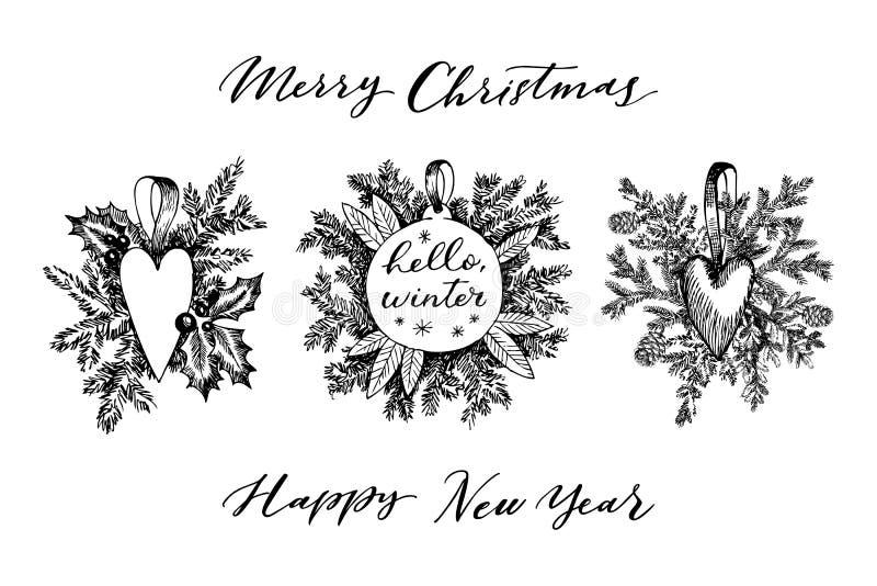 Cuore del giocattolo di Natale ed albero disegnati a mano della pelliccia per progettazione di natale Con le palle, giocattoli, b illustrazione di stock
