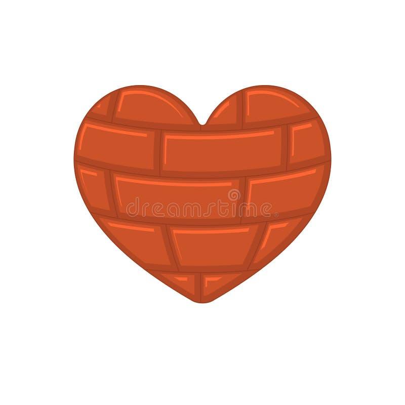 Cuore del mattone isolato Organo interno della roccia vettore IL di simbolo di amore illustrazione vettoriale