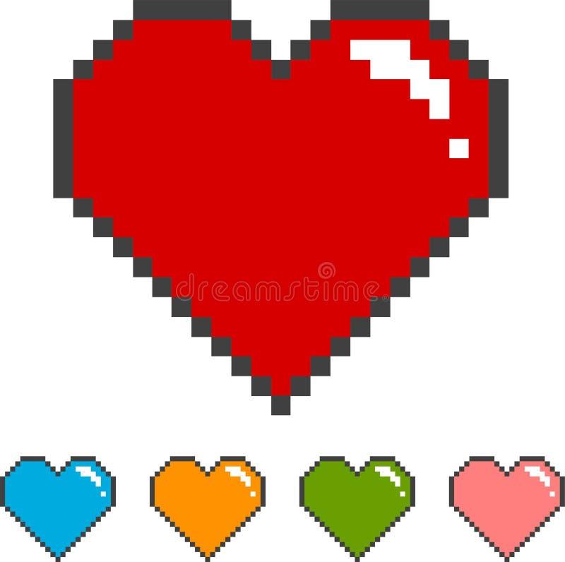 Cuore del pixel con le versioni di colore illustrazione vettoriale