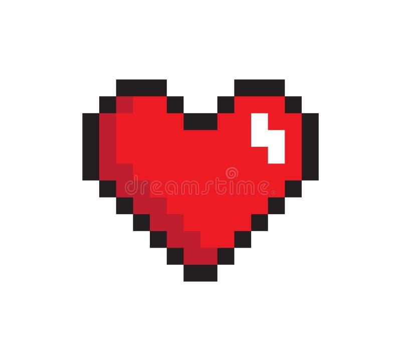 Cuore del primo piano, icona del pixel, illustrazione di vettore illustrazione di stock