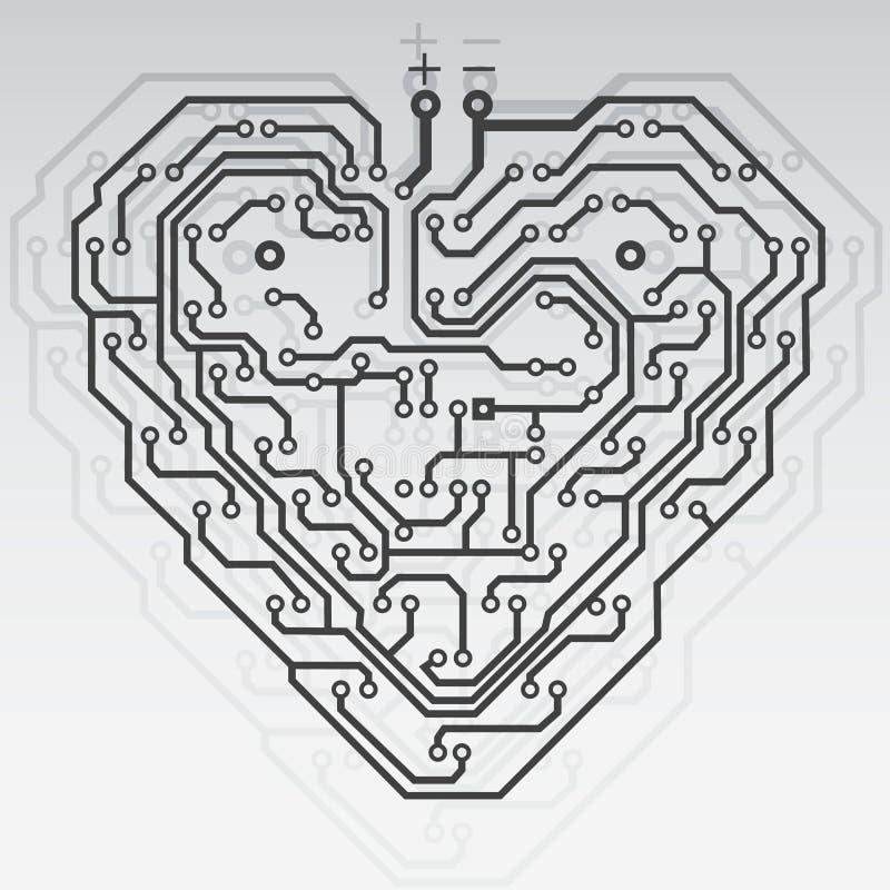 Cuore del reticolo del circuito. royalty illustrazione gratis