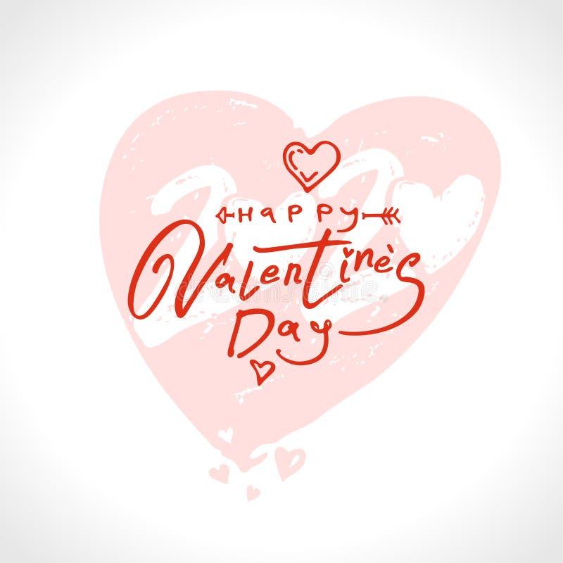 Cuore delicato 2020 Buon San Valentino 2020 calligrafia moderna illustrazione di stock