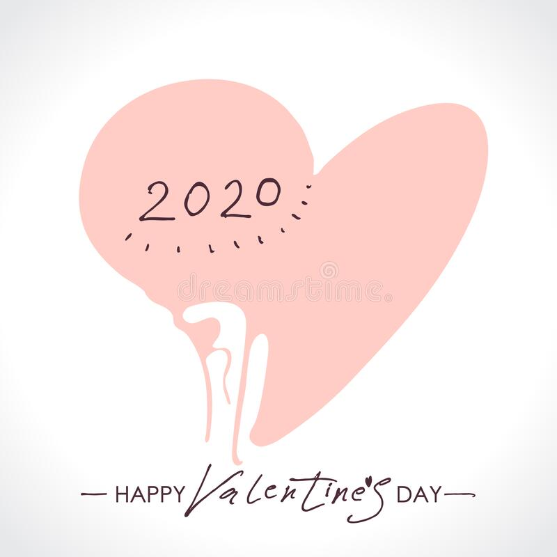 Cuore delicato 2020 Buon San Valentino 2020 calligrafia moderna illustrazione vettoriale