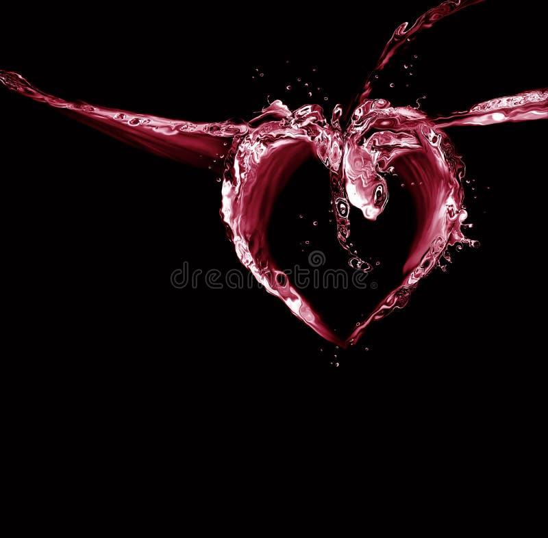 Cuore dell'acqua nera e rossa fotografie stock libere da diritti