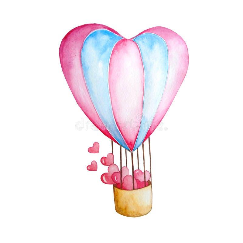 Cuore dell'aerostato di rosa dell'acquerello illustrazione vettoriale