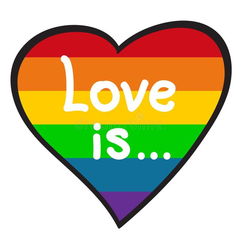 Cuore dell'arcobaleno con le lettere illustrazione di stock