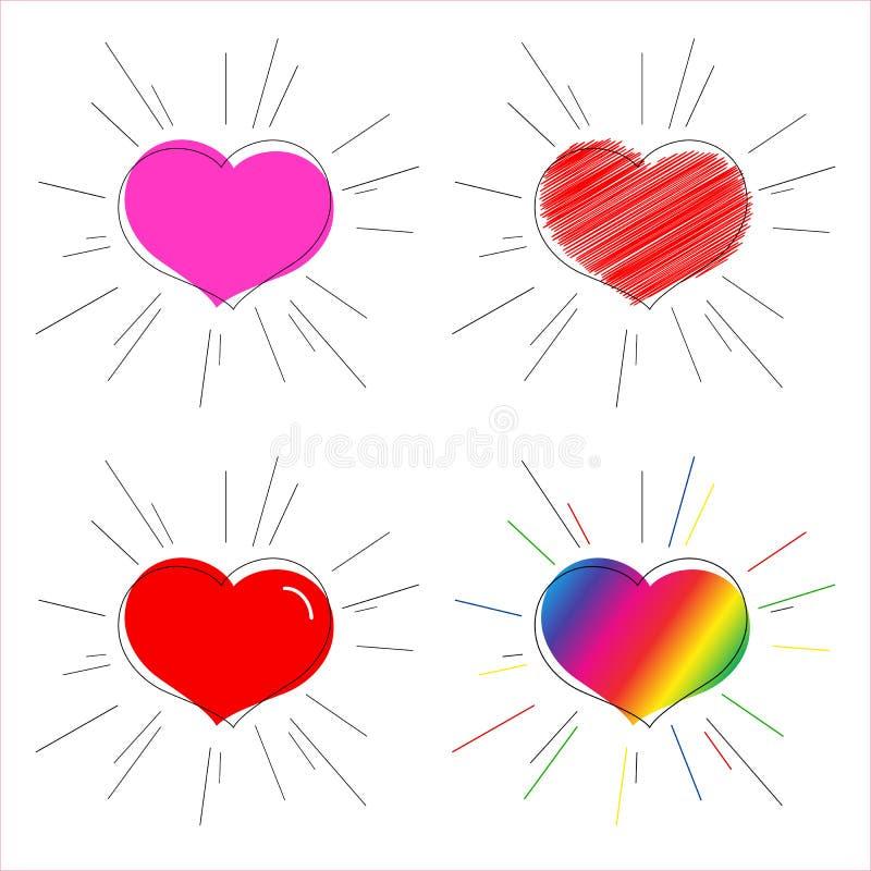 Cuore dell'arcobaleno e rosa-rosso con il simbolo dei raggi di amore e del matrimonio per il cuore decorativo di San Valentino pe royalty illustrazione gratis