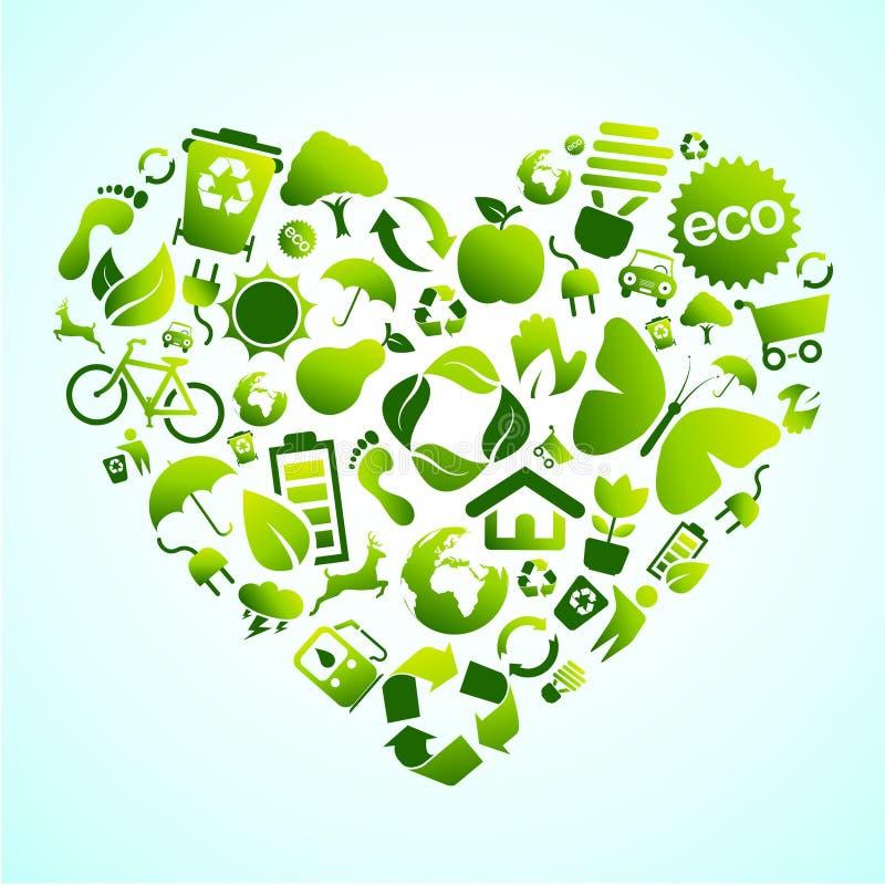 Cuore dell'icona di Eco illustrazione di stock