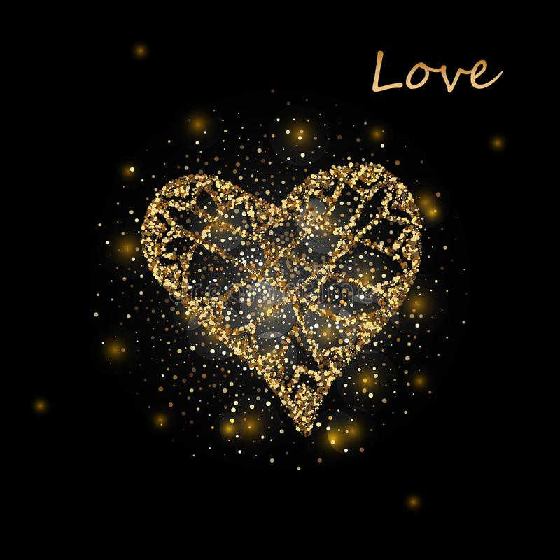 Cuore Cuore Cuore dell'oro Amore Cuore romantico Vettore della pagina del cuore dell'oro Fondo del cuore di calligrafia Blocco pe royalty illustrazione gratis