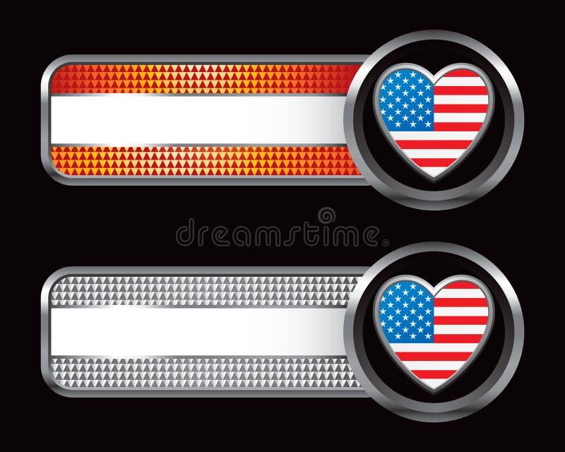 Cuore della bandiera americana sulle bandiere a strisce royalty illustrazione gratis