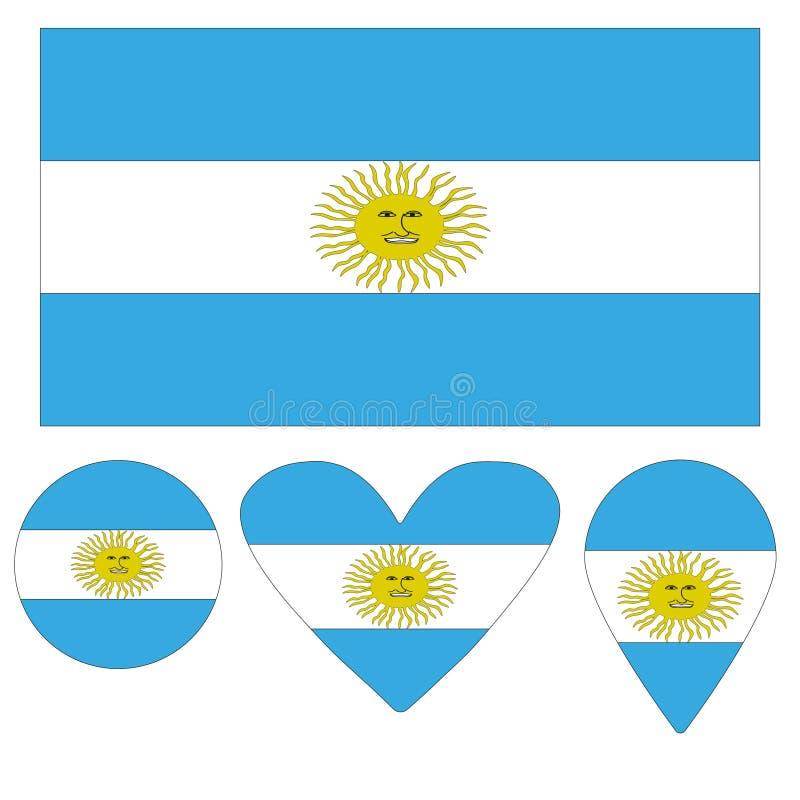 Cuore della bandiera dell'Argentina delle icone, puntatore, palla illustrazione vettoriale