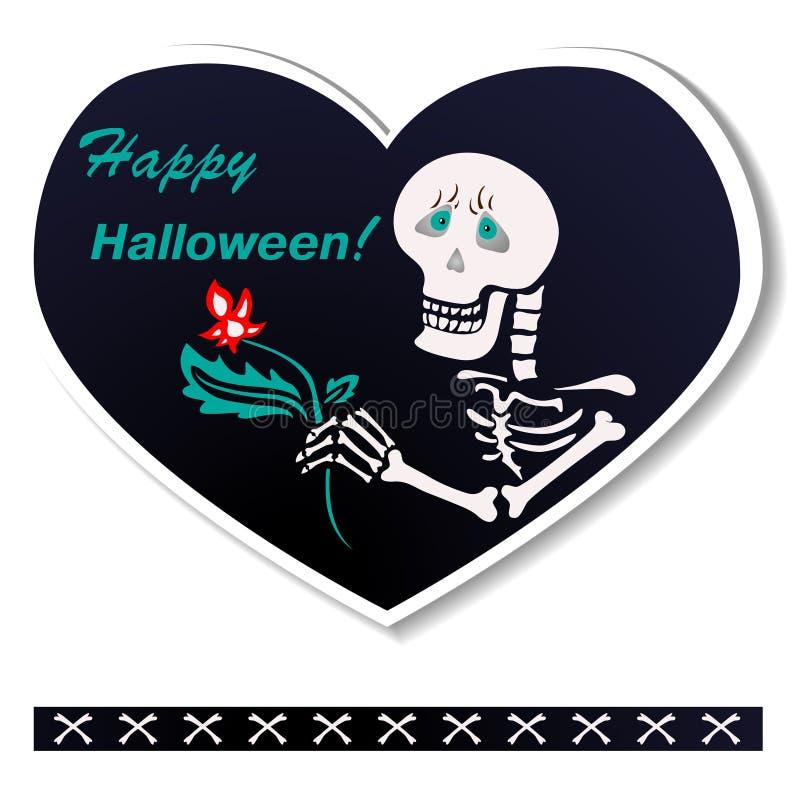 Cuore della cartolina a forma di Lo scheletro desidera un Halloween felice fotografia stock libera da diritti