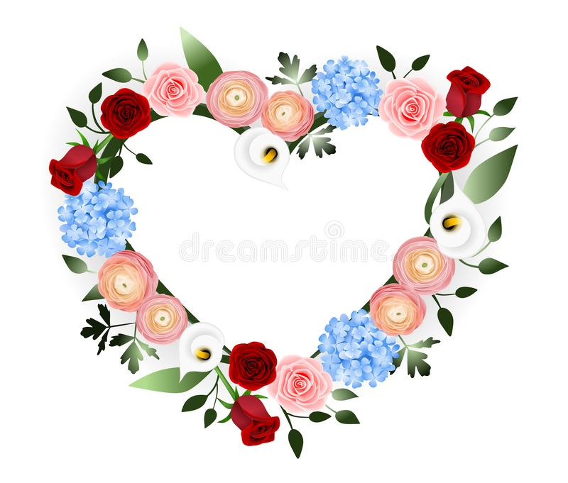 Cuore della decorazione dei fiori royalty illustrazione gratis
