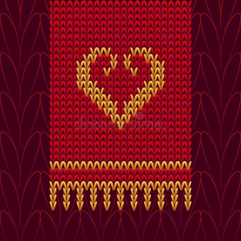 Cuore della lana tricottato colore illustrazione di stock