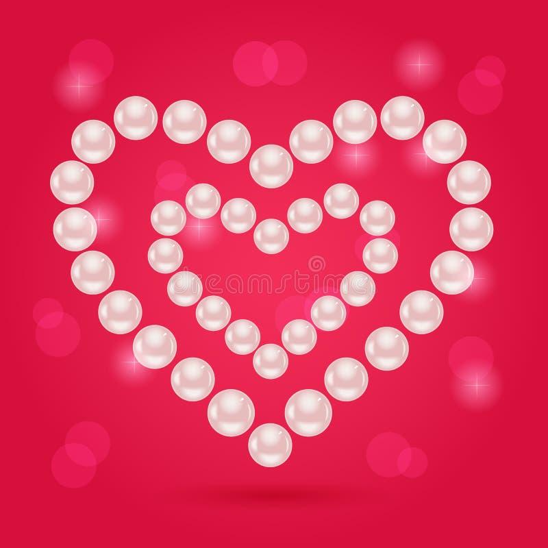 Cuore della perla sul fondo rosa di giorno di Valentaine royalty illustrazione gratis