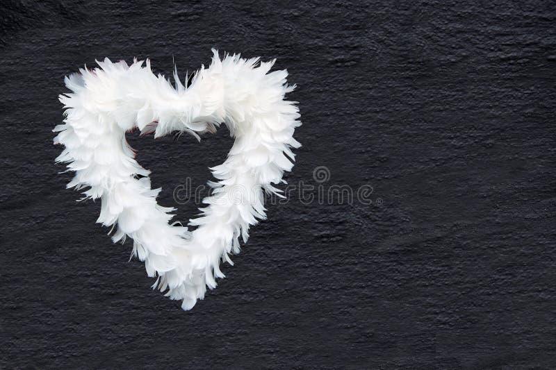 Cuore della piuma bianca su gray di carbone fotografie stock