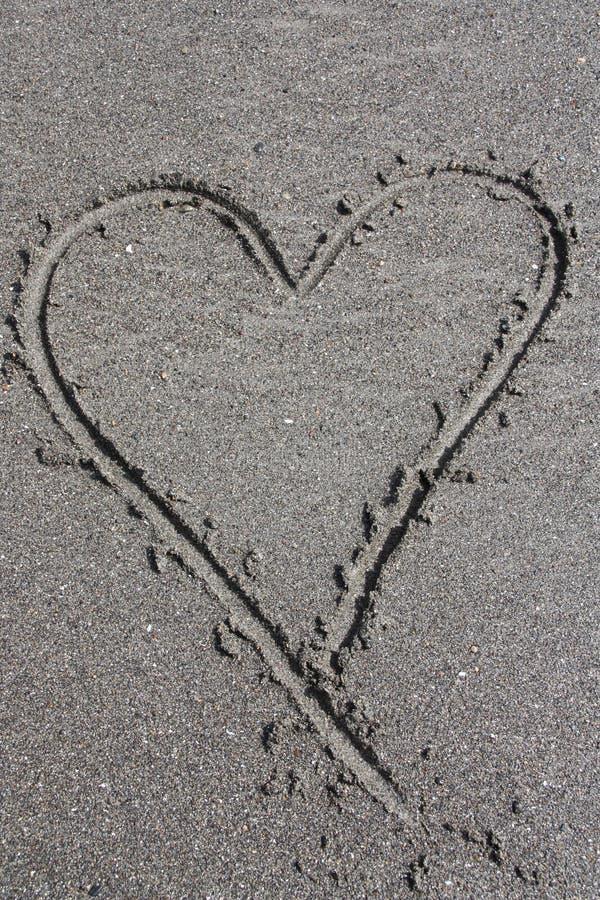 Cuore della sabbia fotografie stock libere da diritti