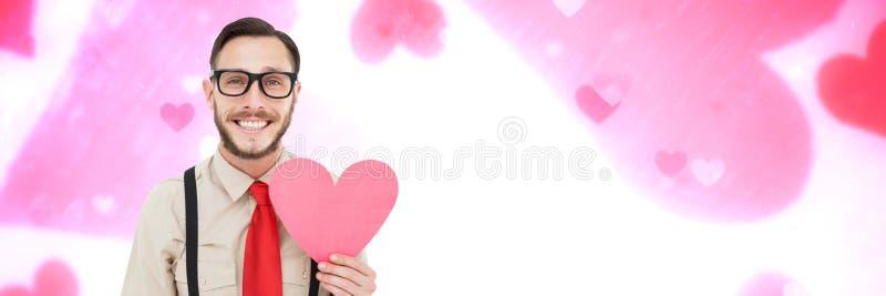 Cuore della tenuta dell'uomo dei biglietti di S. Valentino con il fondo dei cuori di amore illustrazione di stock
