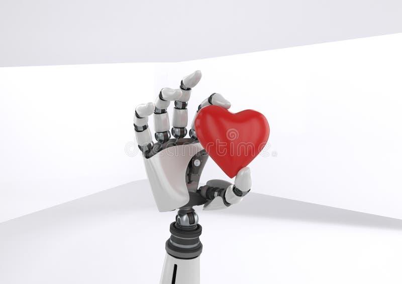 Cuore della tenuta della mano del robot di Android con fondo luminoso illustrazione di stock
