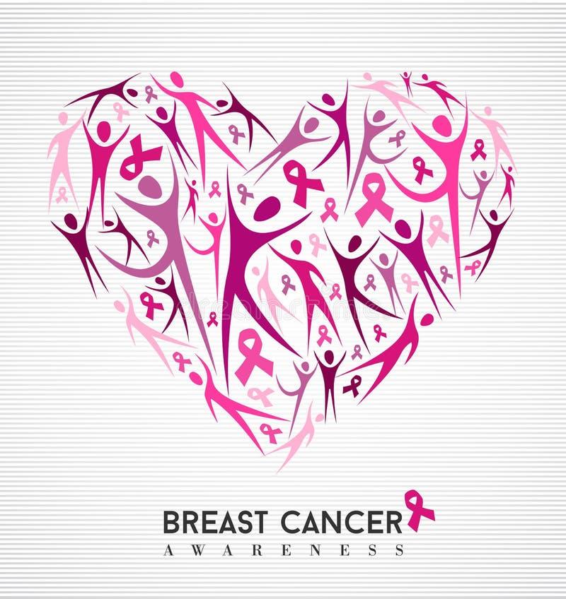 Cuore delle donne del nastro di rosa di consapevolezza del cancro al seno illustrazione vettoriale